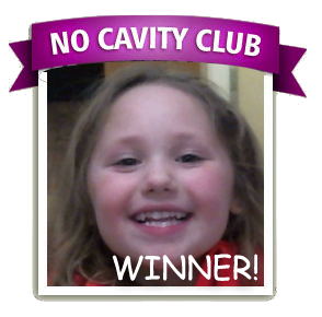 Olivia is the No Cavity Club Winner of the month for February